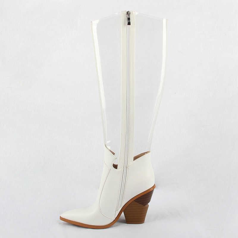 2019 ฤดูใบไม้ร่วง New Western รองเท้าผู้หญิง PVC ต้นขาสูงรองเท้าล้าง Toe คริสตัลรองเท้าส้นสูงกว่าเข่าโปร่งใสฝนรองเท้า