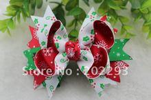 cute christmas tree printed ribbon of  hair bows, 2016 hot selling!