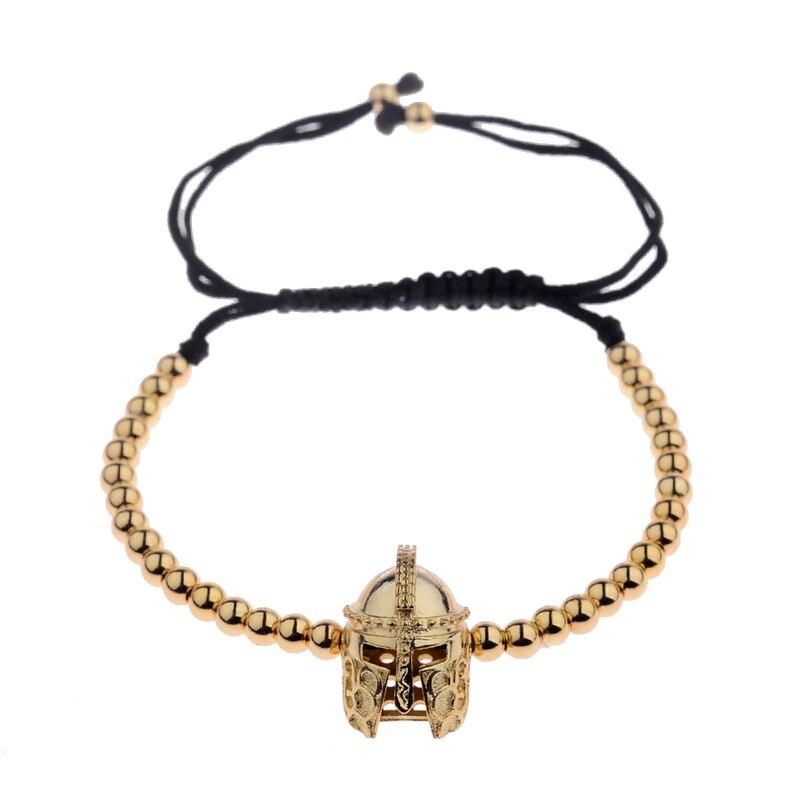 New Design Black CZ Stainless Steel Beads Braiding Buddha Bracelet Spartan Helmet Charm Bracelets For Women/Men Jewelry AB1016 9