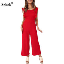 ad2d1eb466d Szkzk Ruffle Red Loose Jumpsuits Casual Wide Leg Sleeveless Playsuits Summer  Sexy Strapless Bow Overall Rompers Women