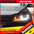 Carro Stylingfor Faróis JETTA MK6 2011-2014 Para JETTA LEVOU Farol anjo olhos JETTA GLI LEVOU drl H7 escondeu Lente Bi-Xenon farol baixo