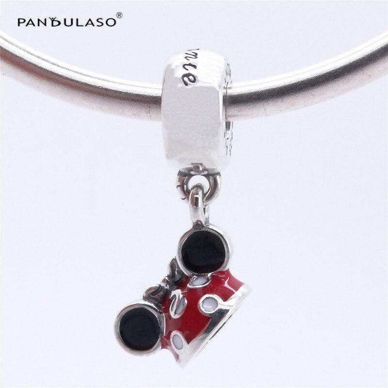 Pandulaso Charms Silver 925 Original Disny Minni Mouse Hat Charm Beads for Jewelry Making DIY Jewelry Fit Bracelets & Bangles