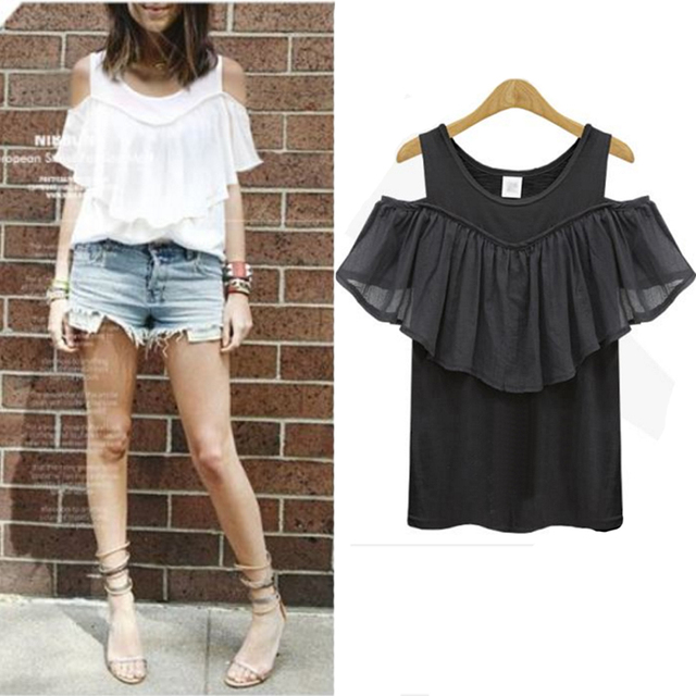 39f5341004c6a6 XL-5XL Big Sized Cold Shoulder Tops Summer Casual Ruffle Off Shoulder T Shirt  Black White Tee Shirt Femme Plus Size Top Tees