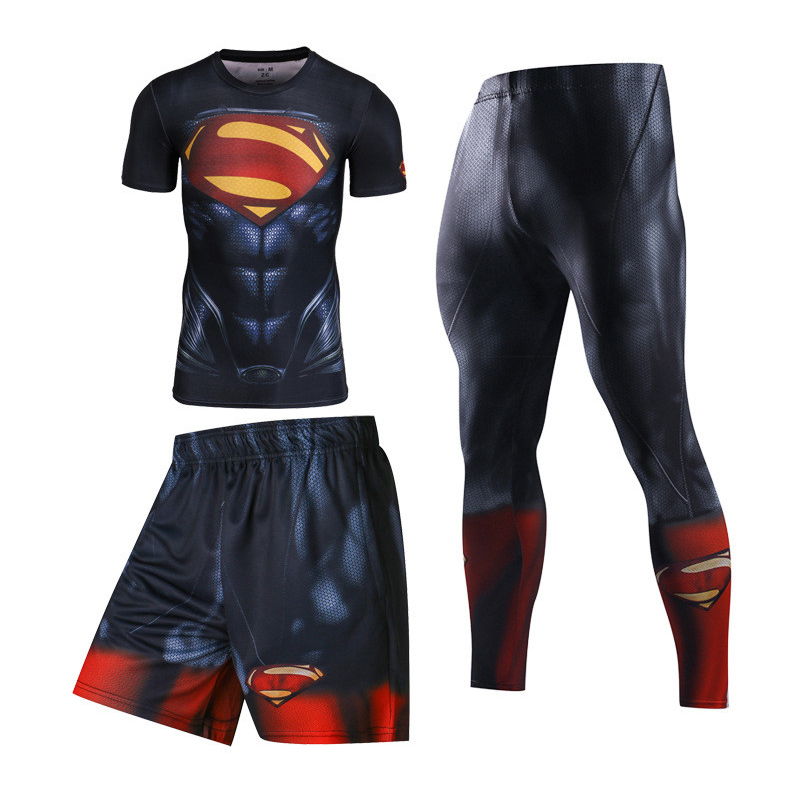 Survetement homme Superman Avengers Mma T Shirt homme Rashguard Jiu Jitsu Ufc musculation Bjj haut anti éruption Muay Thai short peau