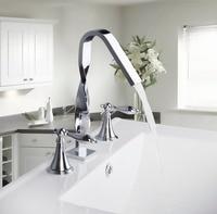 54H New Design Construction Real Estate Deck Mounted Two Handles 3 Pcs Set Bath Fixtures Bath