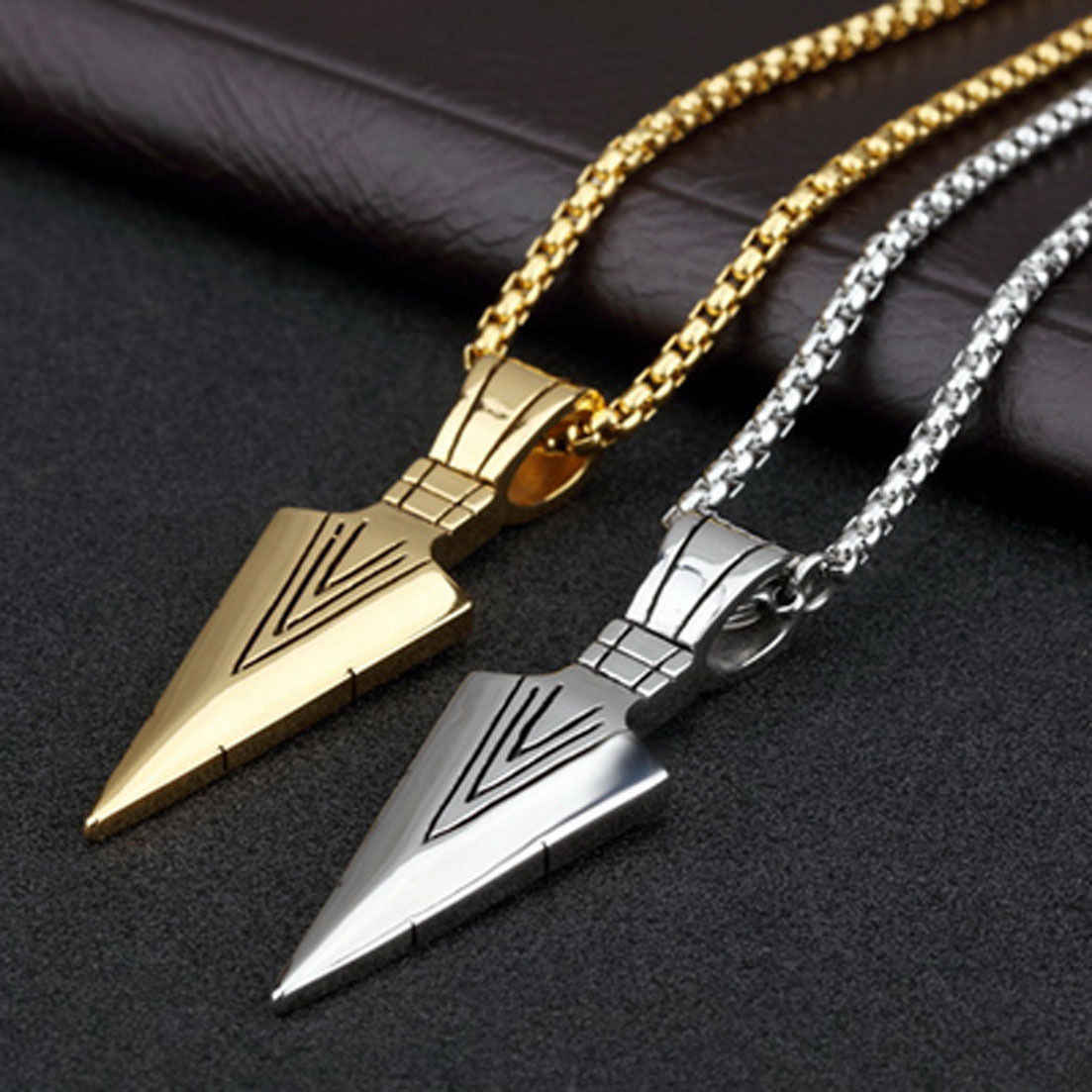 LISTE&LUKE 2019 Fashion 3colors Vintage Necklace Men Arrow Pendant Simple Chain Bead Arrow Long Men Necklaces Jewelry Gift