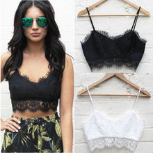 Summer 2017 Spaghetti Strap Lace Camisole Women Crop Top Knitted Lace Flower Straps Bottoming Short Exposed Camis Camisole