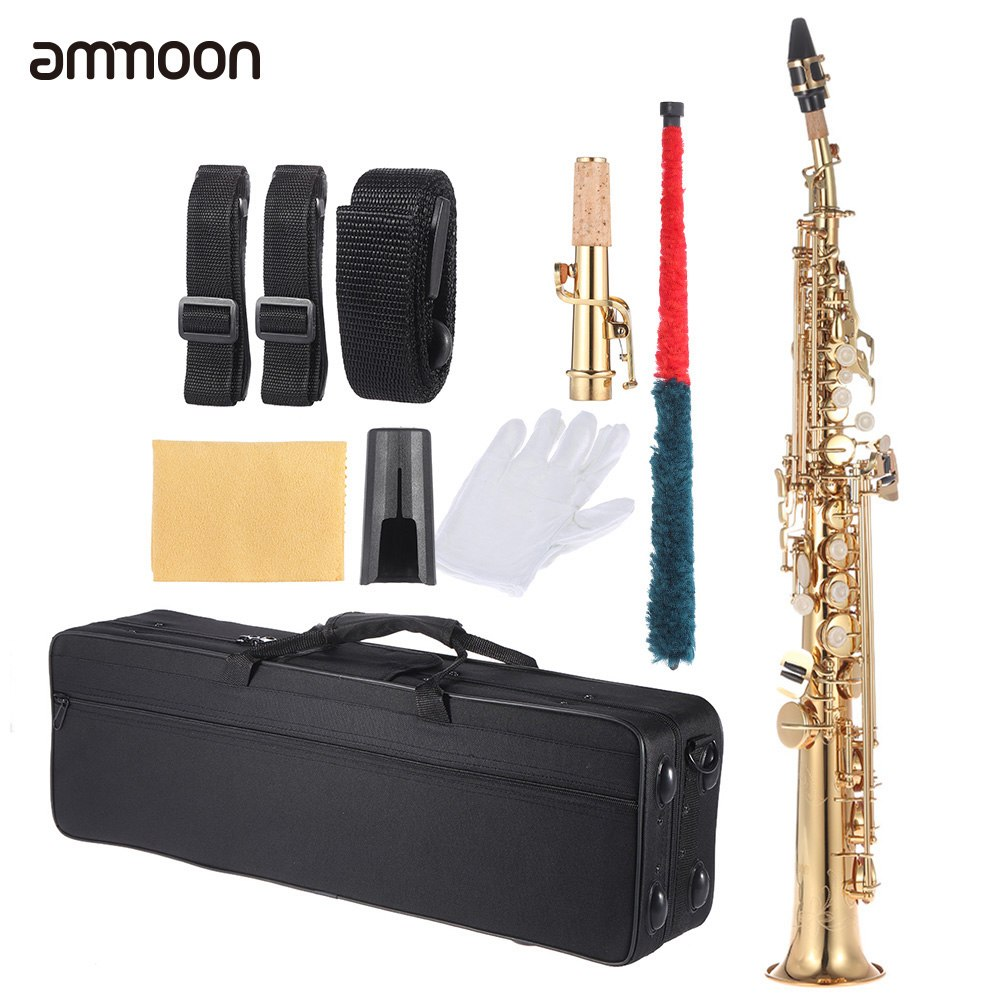 Ammoon Brass Straight Soprano Sax Saxophone Bb B Flat Woodwind Instrument Natural Shell Key Carve Pattern With Carrying Case