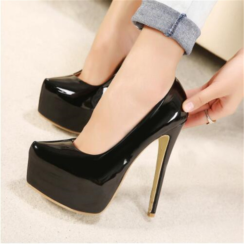 2019 New Spring and Autumn <font><b>Sexy</b></font> Wedding <font><b>Fetish</b></font> Round Toe Woman Pumps Platform Very High Heel Pumps 15 Cm Black Red Women <font><b>Shoes</b></font> image