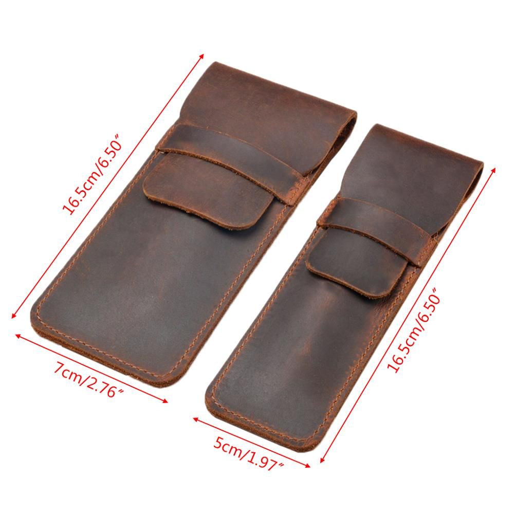 Leather Pen Holder Brown Fountain Pen Pouch Pencil Holder Handmade Ballpoint Pen Protective Sleeve Cover For Office College Univ 4