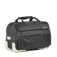New Nylon Waterproof Travel Bag With Wheels Black Travel Bag On Wheels Trolley Rolling Travel Luggage Suitcase With Drawbars Zip