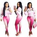 2017 Spring Cartoon Pattern Women Bomber Jacket Casual Two Piece Set Pink Coat Designer Gradient Legging Tracksuit Bodycon Pants