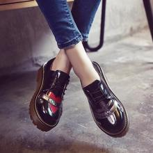 Bullock Shoes Women Oxfords Zapatos mujer 2017 New Sweet Love Heart Print Party British Moccasins Feminino Flats Vintage Sapatos