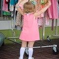 Las niñas se Visten 2017 Nuevo Otoño Del Estilo de Inglaterra Ropa de Las Muchachas Sin Mangas azul Lazo Rosa Corte Niña de Una Sola Pieza Muchachas Del Verano vestidos