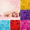3D Rosa de Tela Manta Pañales Del Bebé Recién Nacido accesorios de Fotografía Telones de Fondo Floral Satin Rosette Tela