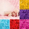 3D Subiu Tecido Cobertor Panos Bebê Recém-nascido Adereços Fotografia Backdrops Tecido Floral De Cetim Roseta