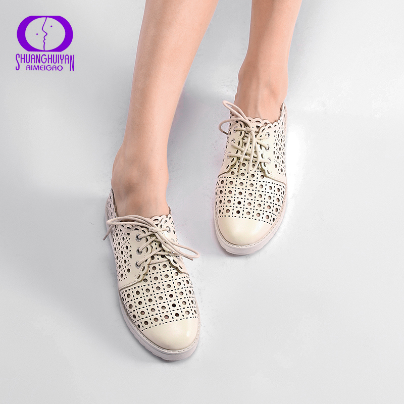 2017 New Womens Flats Big Size Shoes Leather Sandals Woman Lace Up Moccasins Solid Casual Shoes Zapatos Mujer