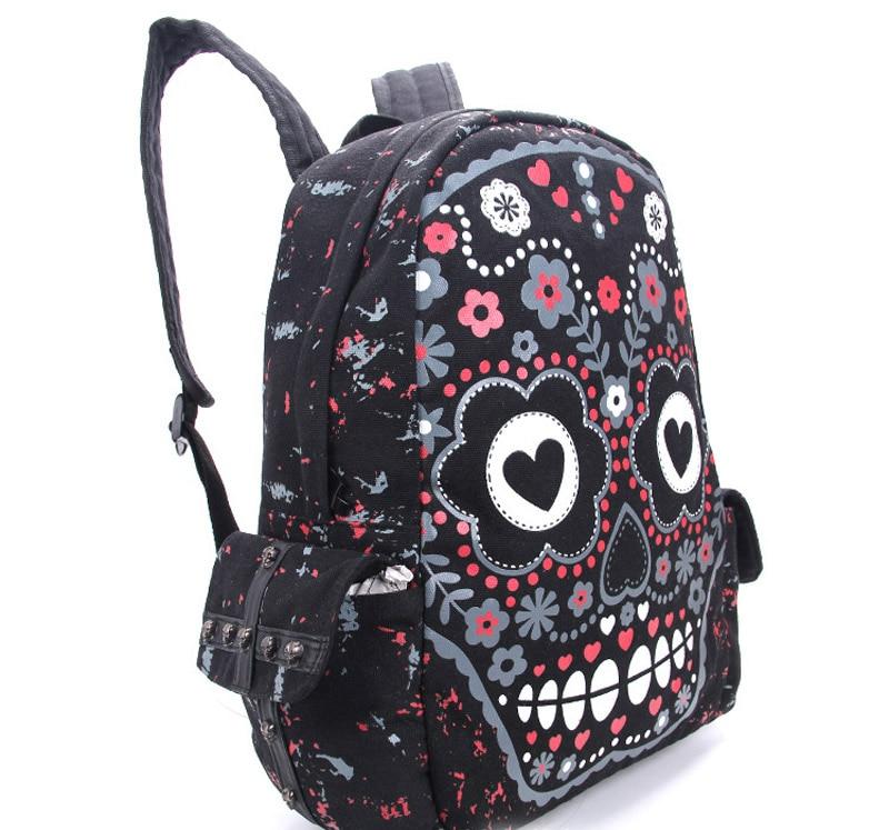 Men Women Unisex Sugar Flower Printed Skull Gothic Emo Punk Backpack Rucksack School Bag Pink Waterproof Mochila #2