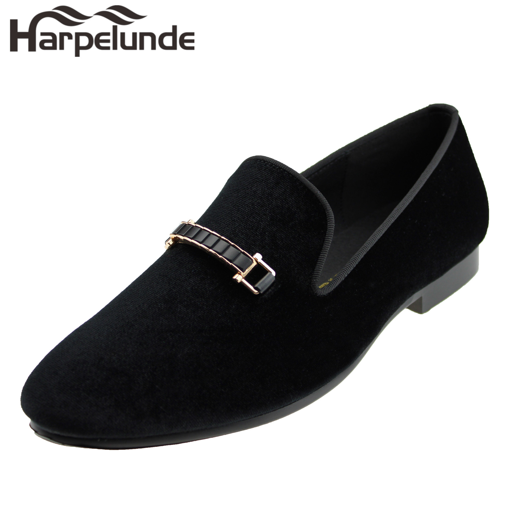 5491ebaf56ea Harpelunde Men Dress Wedding Shoes Buckle Black Velvet Loafer Slippers