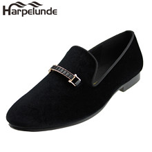 Harpelunde Men Dress Wedding Shoes Buckle Black Velvet Loafer Slippers