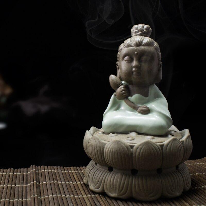 Souhait petit moine en céramique brûleur d'encens encensoir ru Tao bois de santal bobine d'encens four ornements 2 heures faveurs de thé