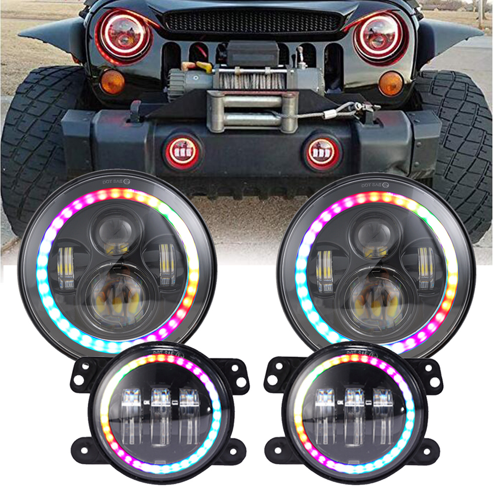 7 Inch Bluetooth RGB LED Headlights 4 Inch Fog Light Kit RGB Halo for Jeep Wrangler