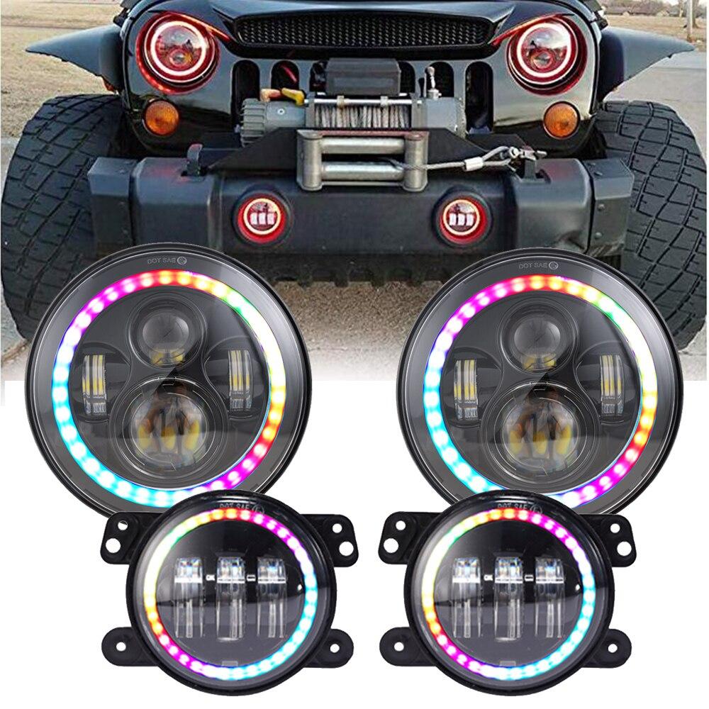 Car Light Assembly 2019 Latest Design 7 Inch Bluetooth Rgb Led Headlights & 4 Inch Fog Light Kit Rgb Halo For Jeep Wrangler Jk Tj Lj 1997-2017 97-17 Hummer H1 H2 Cheap Sales 50% Automobiles & Motorcycles