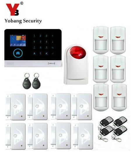 Yobangセキュリティのスマートホーム盗難セキュリティ警報システムpir赤外線ストロボサイレンwifi gsm alarmsystem sistemaデalarma gsm