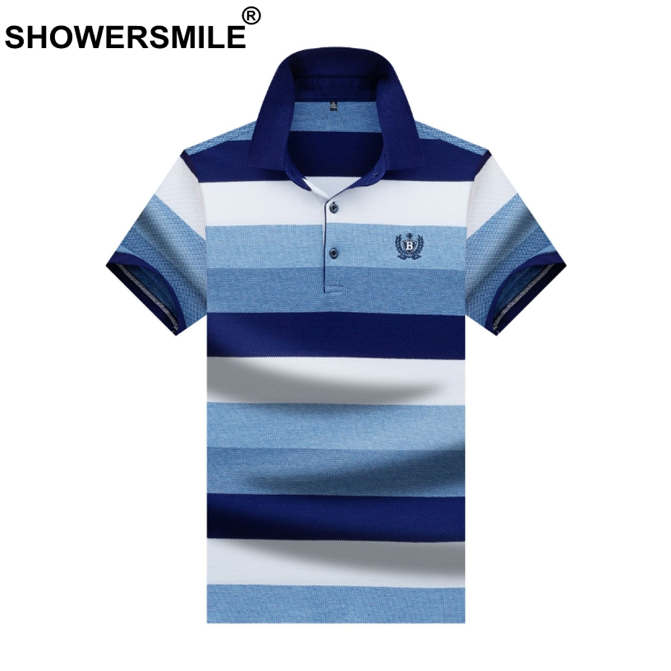 SHOWERSMILE Tee Shirt Men   Polo   T Wide Striped Blue Tops Embroidery Male Cotton England Short Sleeve Casual Summer Outdoor 3xl