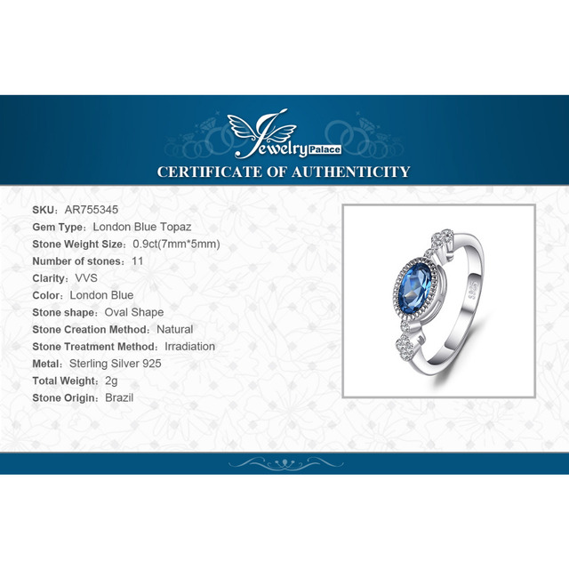 JewelryPalace Elegant 1ct Oval Shape Genuine London Blue Topaz Ring SOlid 925 Sterling Silver Anniversary Fine Jewelry For Women