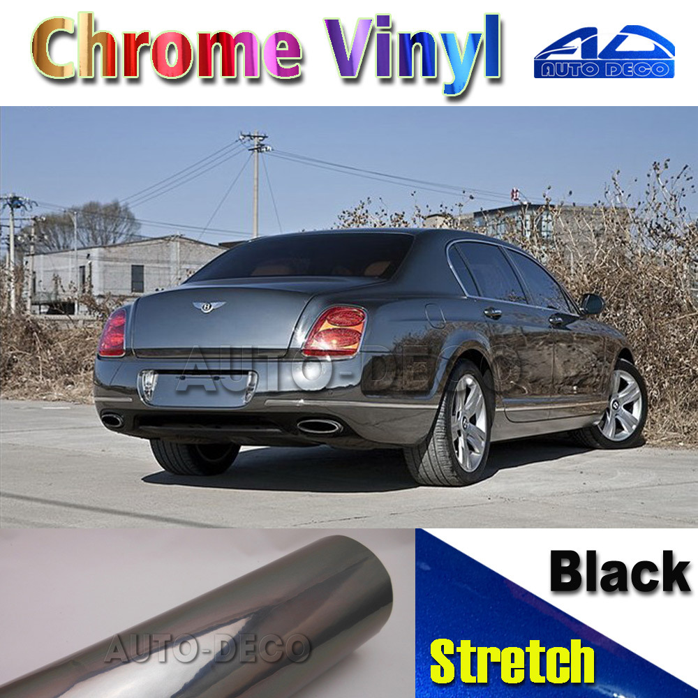 Reasonably Priced Black Chrome Vinyl Stretch Film With Air Bubble Free For Car Color Change FedEx Free Shipping 1.52*20m/roll 3pcs oem black piano paint chrome car center console air condition vents for passat b6 b7 cc r36 3ad 819 701 a 3ad 819 702 a