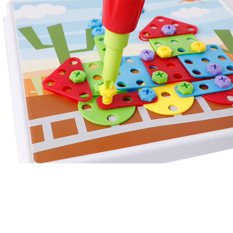 Children Plastic DIY Drill Puzzle Toys Educational Toys Screw Group Toys KidsTool Kit Boy Jigsaw Mosaic Design Building Toy стоимость