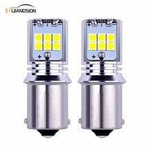 цена на 2pcs 10W 1440lm Non-polarity 12V 24V S25 1156 BA15S canbus LED Bulb P21W 15SMD 3030LED For Car Backup Light Lamp Reverse Lamp