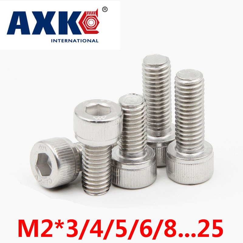 цена на 2018 Fastener Round Stainless Steel Rod Axk 304 A2 Stainless Allen Bolt Socket Cap Screw Hex Head Key M2*3/4/5/6/8...25 Din912