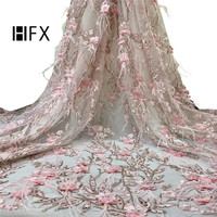 HFX French Lace Fabric 2019 Feather Embroidery Wedding Dress Net Lace High Quality Pink 3d Appliques African Tulle Lace X1693