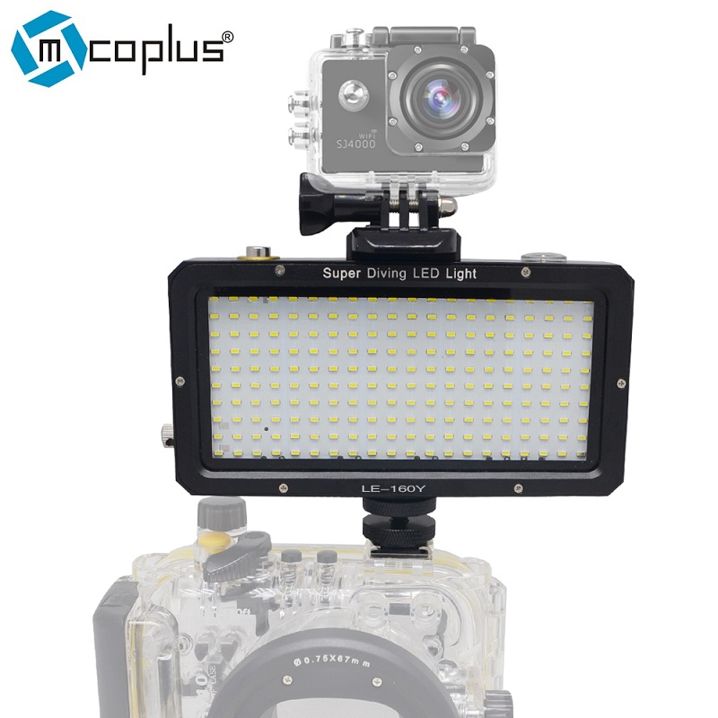Mcoplus 160pcs LED Diving Lamp Waterproof Underwater Video light 25M 82ft for Sony Canon Nikon Camera