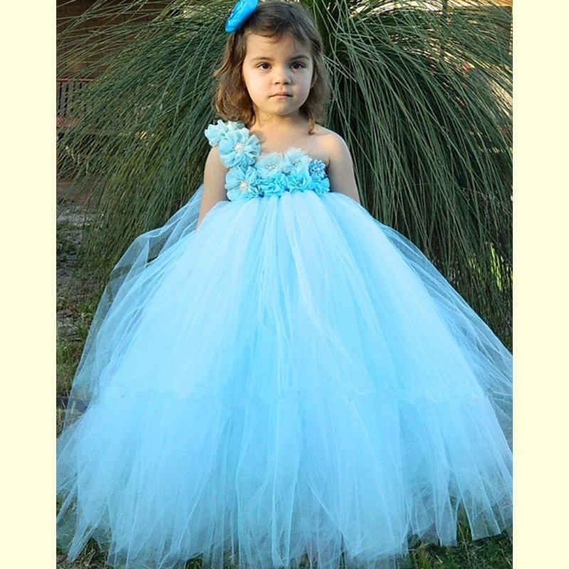 Light Blue Wedding Flower Girl Dress Tulle Tutu Dress Baby Kids Pageant Party Ball Gown Children Princess Dress Vestido Menina