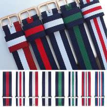 50PCS Wholesale Nylon Strap Watchbands 14mm 16mm 18mm 20mm Watch Straps Band Fabric Striped Replacement Gold