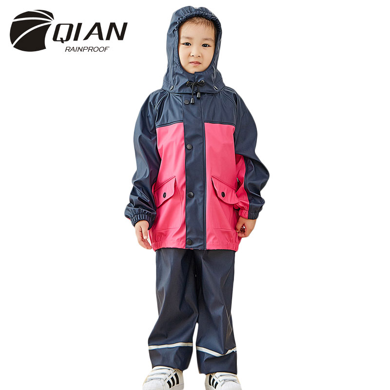 US $35 71 6% OFF|QIAN RAINPROOF Impermeable Children Raincoat School  Waterproof Kids Rain Coat Boys/Girls Rain Gear Poncho Rain Pants Rain  Jacket-in