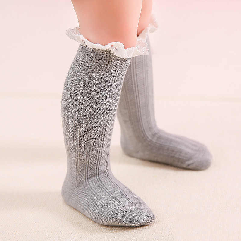 80cd7564848 ... 100% cotton baby knee socks with lace welt funny happy knitted infant  newborn toddler baby ...