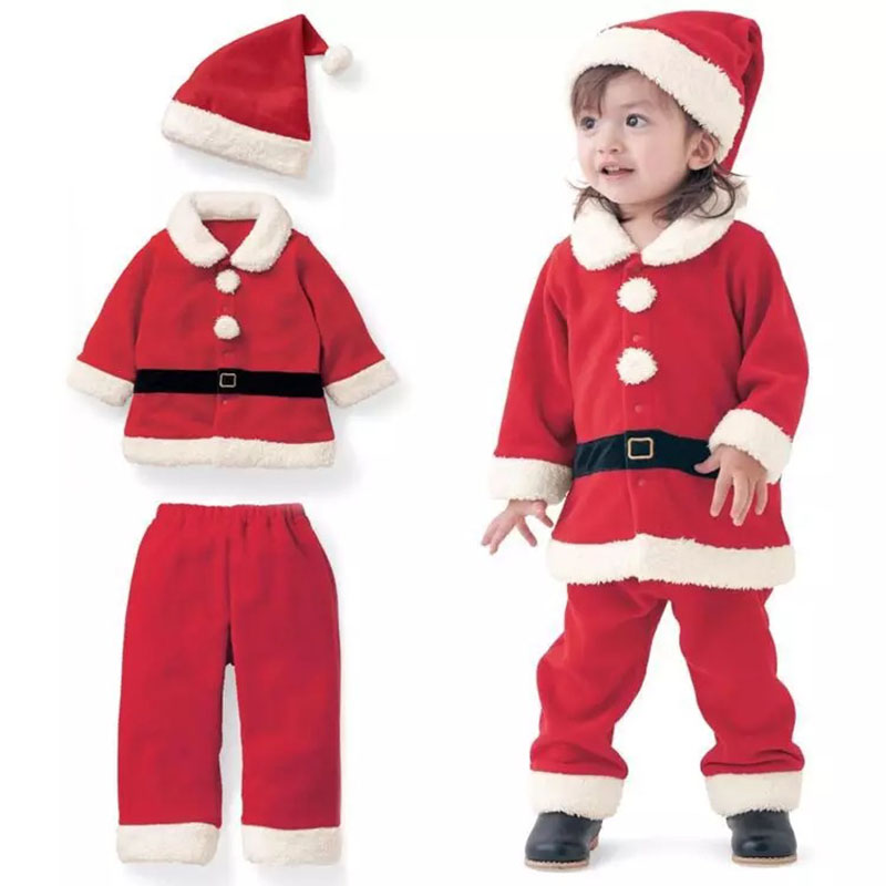 Baby Kids Christmas Costume Clothing Gift Toddler Red Santa Claus Jacket Pants Winter Coat Outfit For 12M-3T