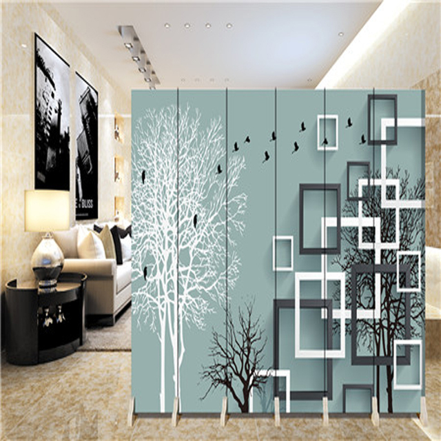 180*40cm*6pcs Hanging Screen Wall Decoration Hangings Room Divider  Partition Wall Biombo Wood