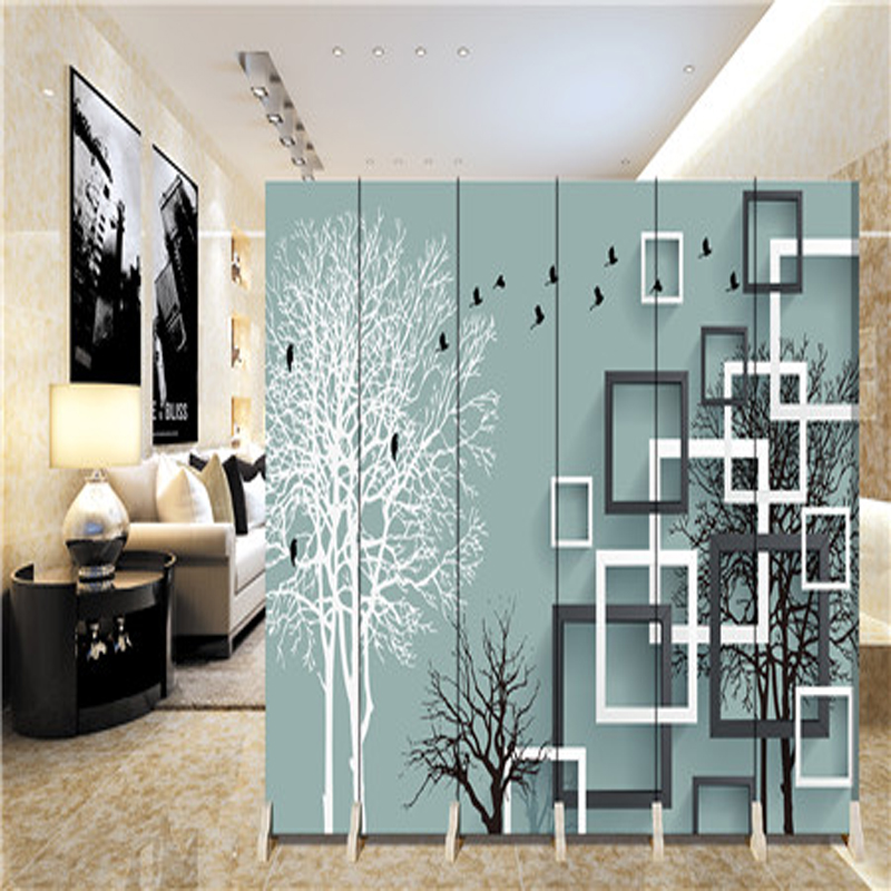 180 40cm 6pcs Hanging Screen Wall Decoration Hangings Room Divider Partition Wall Biombo Wood