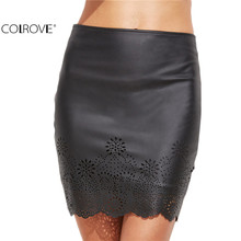 COLROVE Sexy Clubwear Women Mini Skirt Tight Short Skirts Work Wear Black Faux Leather Laser Cutout Bodycon Skirt