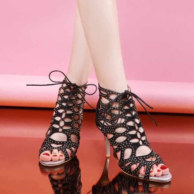 Große Größe 11 12 13 14 15 16 17 high heels sandalen frauen schuhe frau sommer damen Römischen Spitze Hohe -Schuhe mit hohen absätzen Fishmouth Sandalen