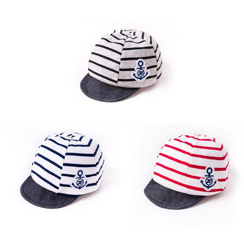 39ba040a13e Spring Summer Cotton Infant Baby Hat Anchor Strip Boys Girls Baby Caps  Newborn Kids Sun Caps 3 12M-in Hats   Caps from Mother   Kids on  Aliexpress.com ...