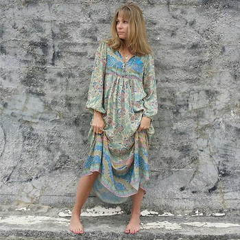 Boho Maxi V-Neck with Tassel Hippie chic Beach Dresses