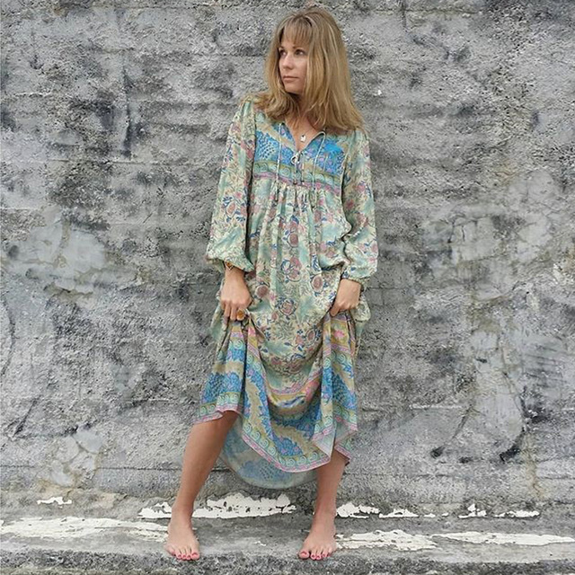 e790b2ff667f Jastie Dreamy Oasis Boho Maxi Dress V-Neck with Tassel Hippie chic Beach  Dresses Elastic