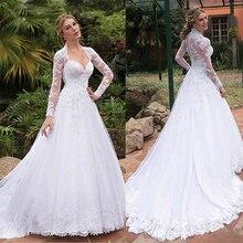 Fantastyczne tiul Queen Anne dekolt linii suknie ślubne z koronki aplikacje seksowna sukienka dla nowożeńców abiti da cerimonia donna