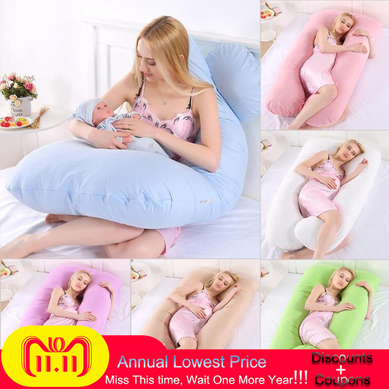 все цены на Baby Pregnancy Pillow Maternity Support Pillow Body Pure Cotton Pillowcase U Shape Maternity Pillows Pregnancy Side Bedding Prop